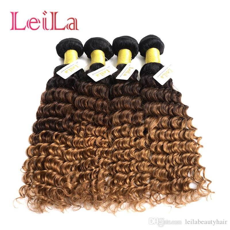 Brazilian Human Hair 4Bundles Deep Wave Curly 1B/4/27 Ombre Virgin Hair Bundles From Leilabeauthair Deep Wave 1B/4/27 Bundels