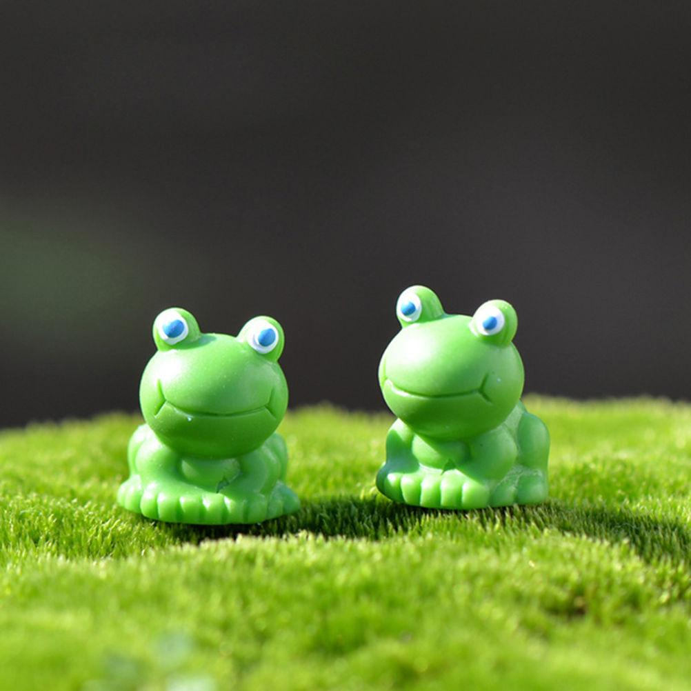 2pcs Miniature Frog Resin Craft Fai da te Animal Artigianato decorativo Miniature Fairy Garden Decor Micro Paesaggio Terrario Figurine