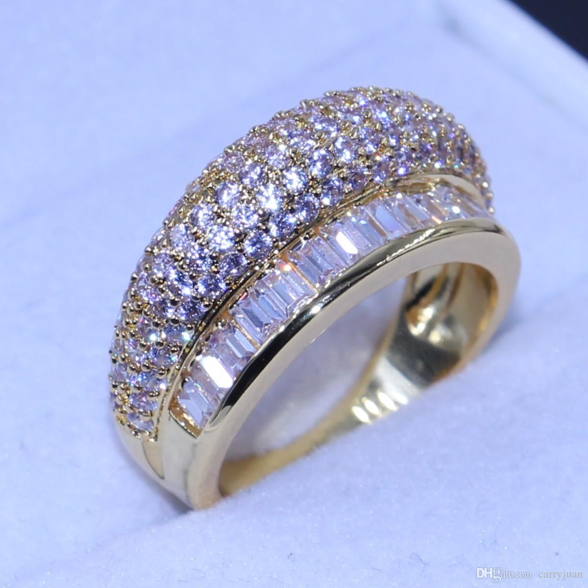 Размер 6/7/8 новое прибытие топ продажи роскошных ювелирных изделий 10kt желтого золота заполнены палец кольцо проложить белый сапфир сверкающие CZ Алмаз женщины кольцо