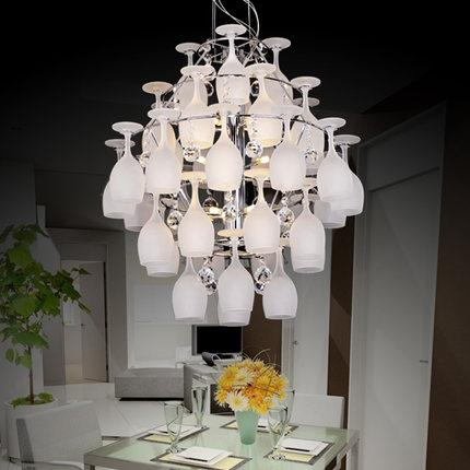 Contemporary white wine glasses crystal chandelier modern creative contemporary white wine glasses crystal chandelier modern creative glass pendant lamp villa hotel mall living room chandeliers outdoor chandelier lighting aloadofball Choice Image