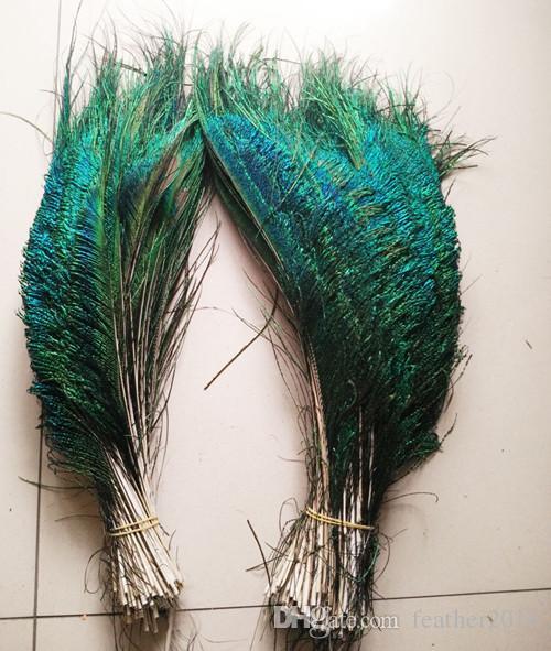 ¡Precio al por mayor! 50 unids / lote Espada Pavo Real En ambos lados Decoración de jarrón de plumas DIY boda decoation festival suministros artesanía pluma