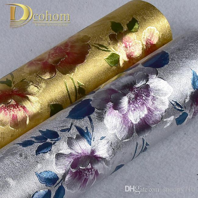 Wholesale High Quality Vinyl Waterproof Gold Silver Glitter Wallpaper For Walls 3d Flower Wall Papers Home Decor Pvc Wallcovering R642