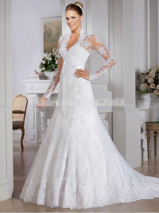 Großhandel Vintage Hochzeitskleid Langärmelige Spitze Meerjungfrau A ...