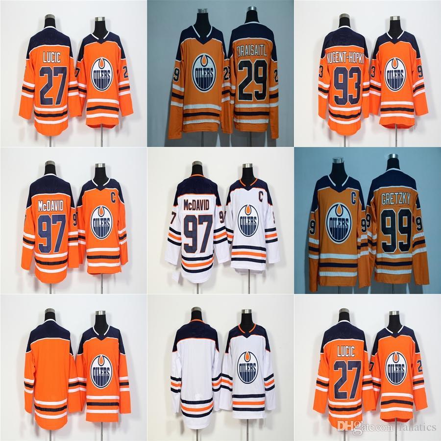 f1eea05f6 2018 New Brand Ad Men Edmonton Oilers 97 Connor McDavid Wayne Gretzky Milan  Lucic Nugent-Hopkin Draisaitl Blank Orange White Hockey Jerseys 97 Connor  ...