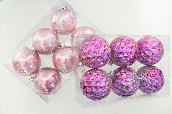 Merry Christmas Balls Pink Christmas Trees Ornaments Colorful ...