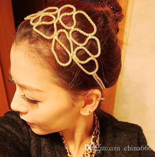 Big discount Women Hollow Out Braided Gold Head Band Stretch Hair Accessories Gossip Girl In Stock