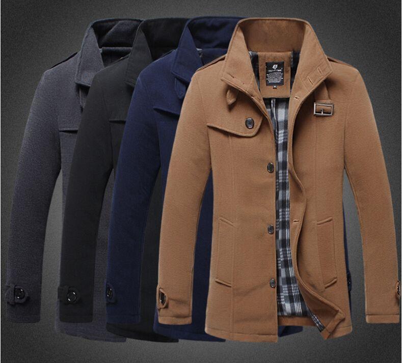 Discount 2015 Mens Autumn Winter Wool Coat Mens Trench Coats Slim ...