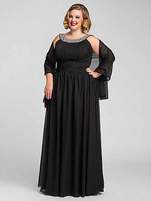 Sexy Plus Size A-Line Jewel-Długość Szyfonowa Sukienka Evening / Bal z szalem