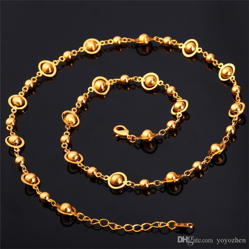 Frauen Gold Bead Kette Platin / 18K Gold überzogen 2015 neue Mode Frauen Schmuck Phantasie Kugelkette Halskette
