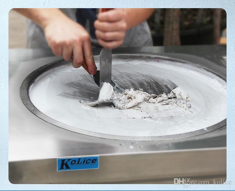 Etlce comercial 55cm pan rolo de sorvete frito máquina de sorvete frito máquina de sorvete com refrigerante completo