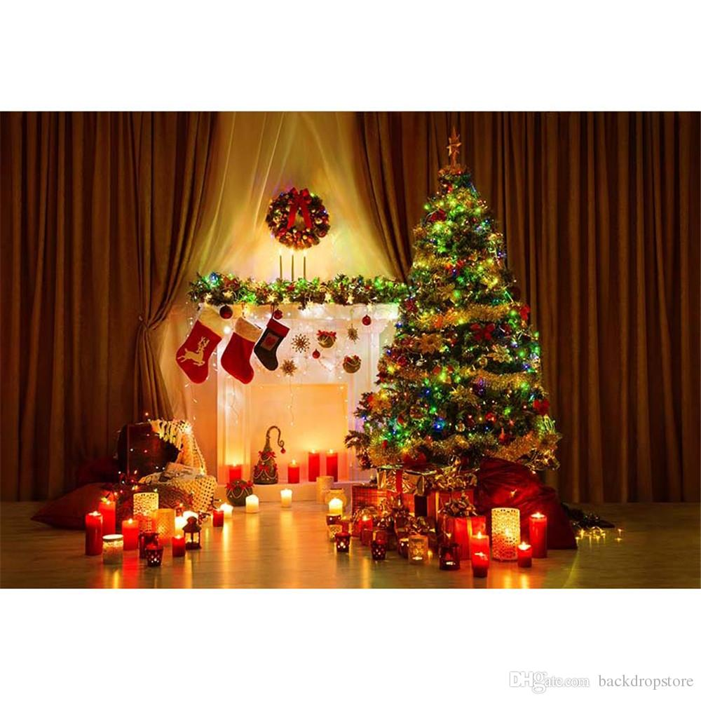 2018 Horizontal Christmas Photography Backdrops Brown Curtain Candle ...