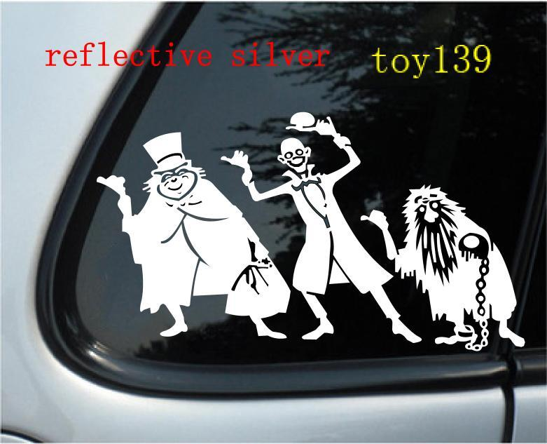 Hitchhiking Ghost Vinyl Car Decal Sticker  Reflective Silver - Funny car decal stickers