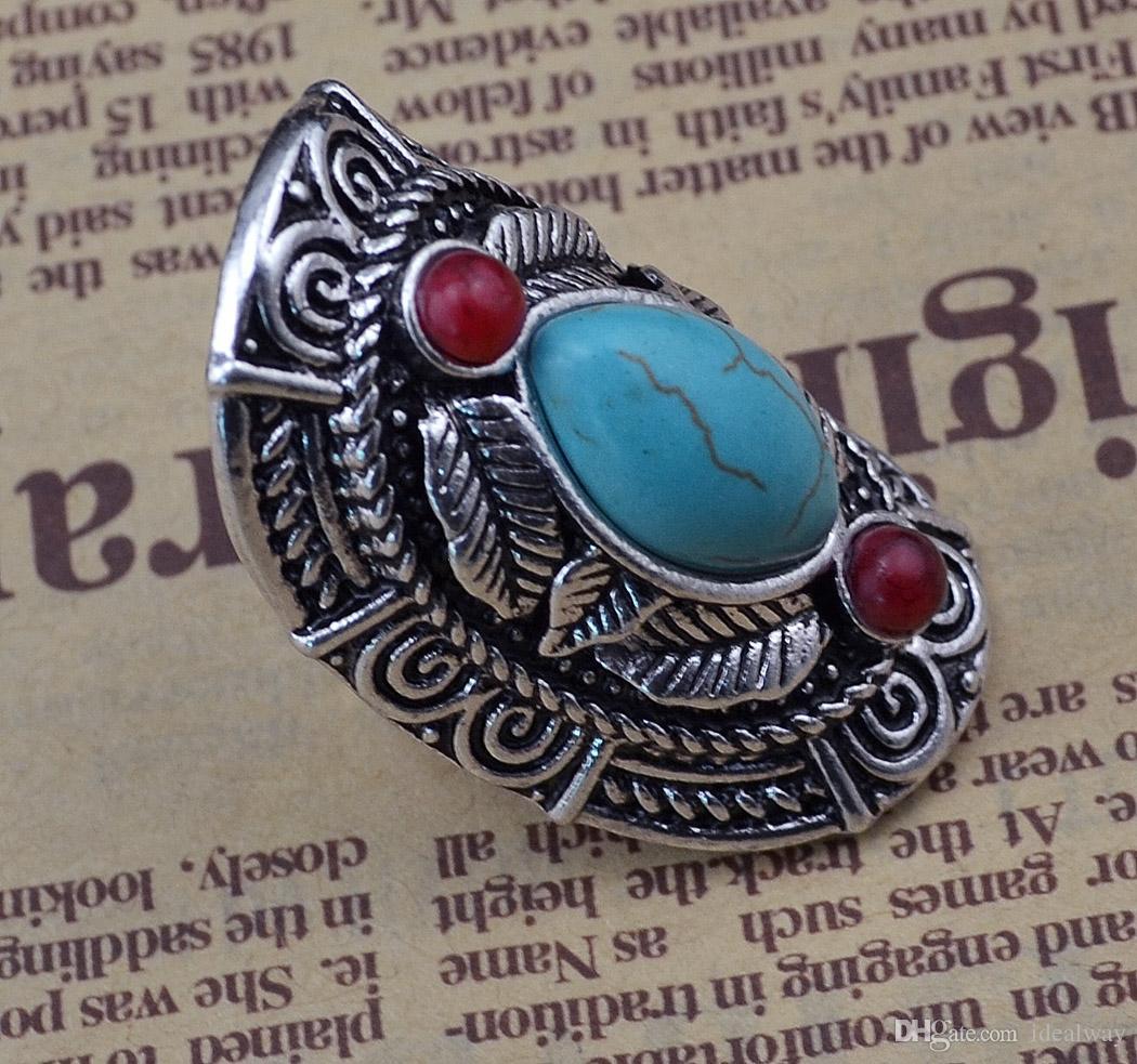 البوهيمي نمط التبت الفضة تصميم الأحمر الفيروز جوهرة ستون كبير beachy بوهو خواتم مشتركة للنساء