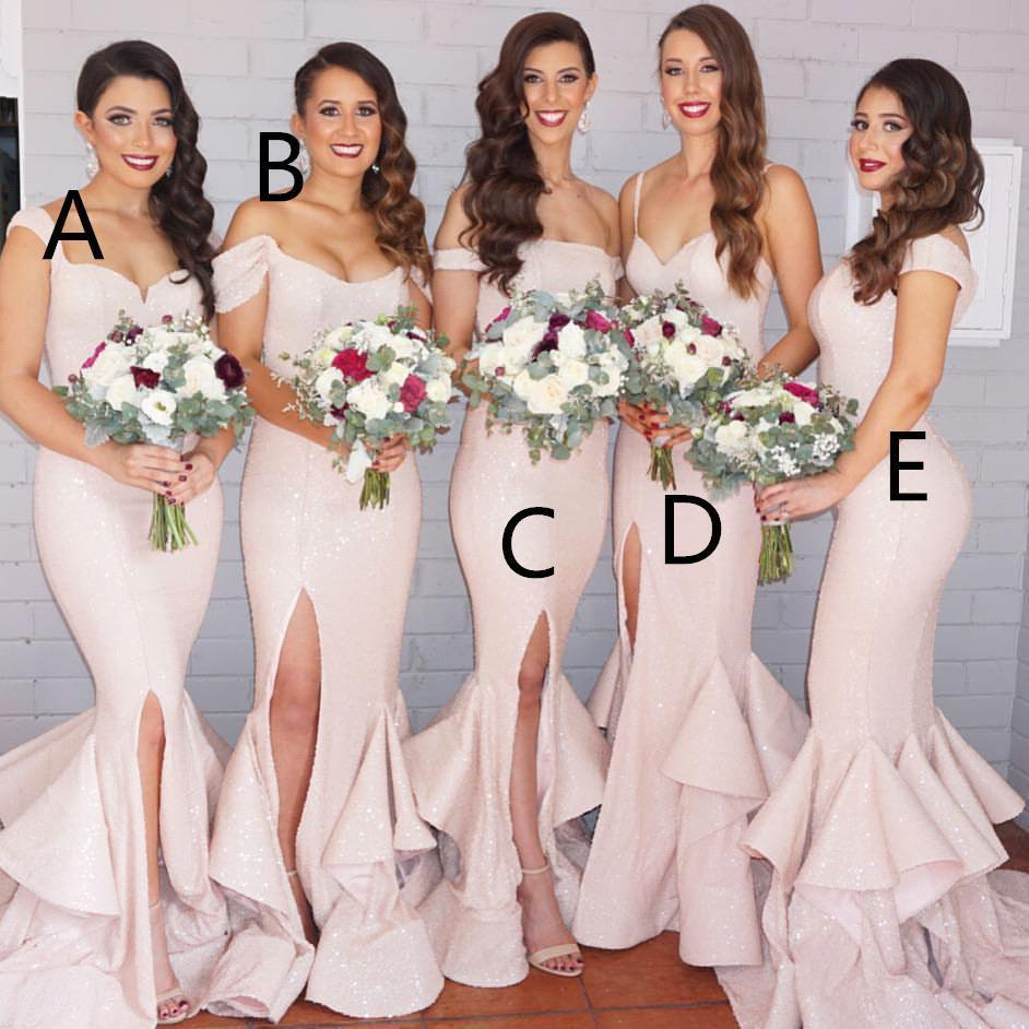 2016 new mermaid light pink sequins bridesmaid dresses bling long 2016 new mermaid light pink sequins bridesmaid dresses bling long cap sleeves mixed style floor length split wedding party gowns ba1593 bridesmaids dresses ombrellifo Gallery