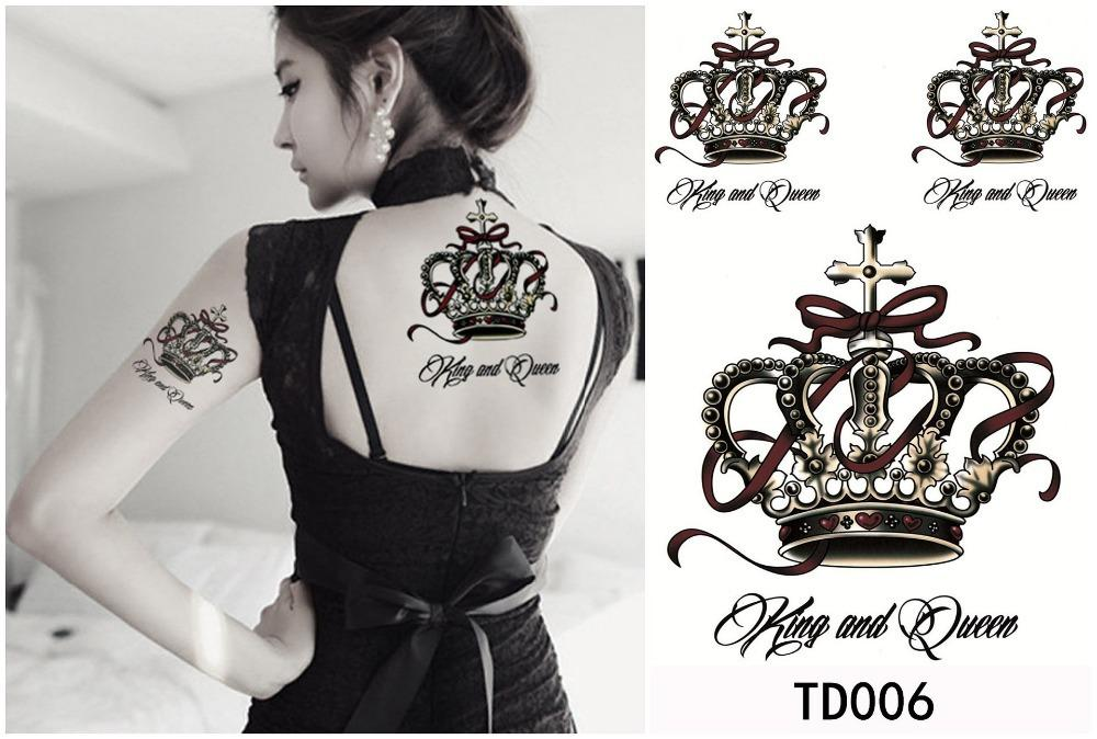 New Arrival Woman Man Fashion Sexy Large Temporary Tattoo Queen