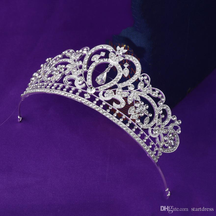 Luxus Krone Crystal Bridal Tiara Diamant Schmuck Hochzeit Kronen Hairband Günstige Hochzeit Haarschmuck von Tiaras für Damen