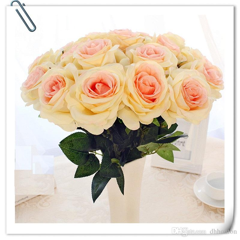 Artificial Rose Silk Craft Flowers Real Touch Flowers For Wedding Christmas Room Decoration bouquet bridal hand