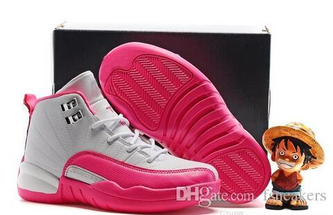 Cheap AIr Jordans 12 White Blue Pink Shoes For Kids