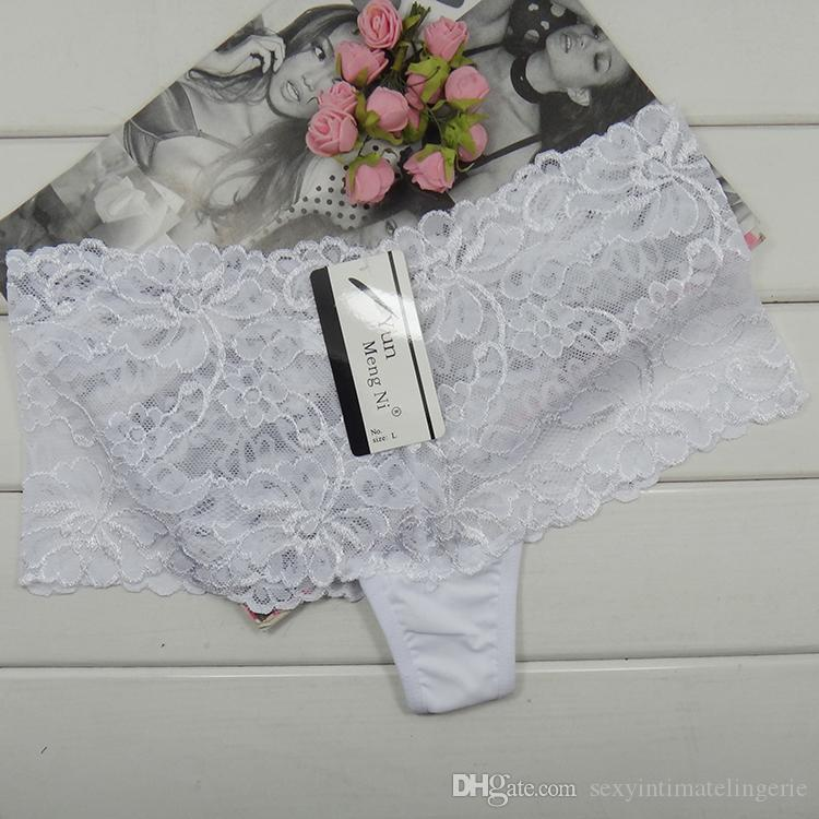 Fast shipping underwear sheer lace boxer short sexy lace hipster cheap knickers boyleg lady cheeky panties lingerie intimate undergarment