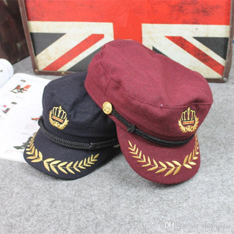 2017 Unisex Woolen Crown Embroidery Military Hats Curved Brim Flat Top Trucker Sailor Captain Caps For Women
