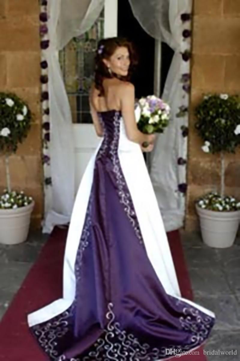 Принцесса Свадебные Платья A-Line Белый И Фиолетовый Свадебные Платья Зашнуровать Назад Часовня Поезд Без Бретелек Аппликация Платье Без Рукавов Свадьба