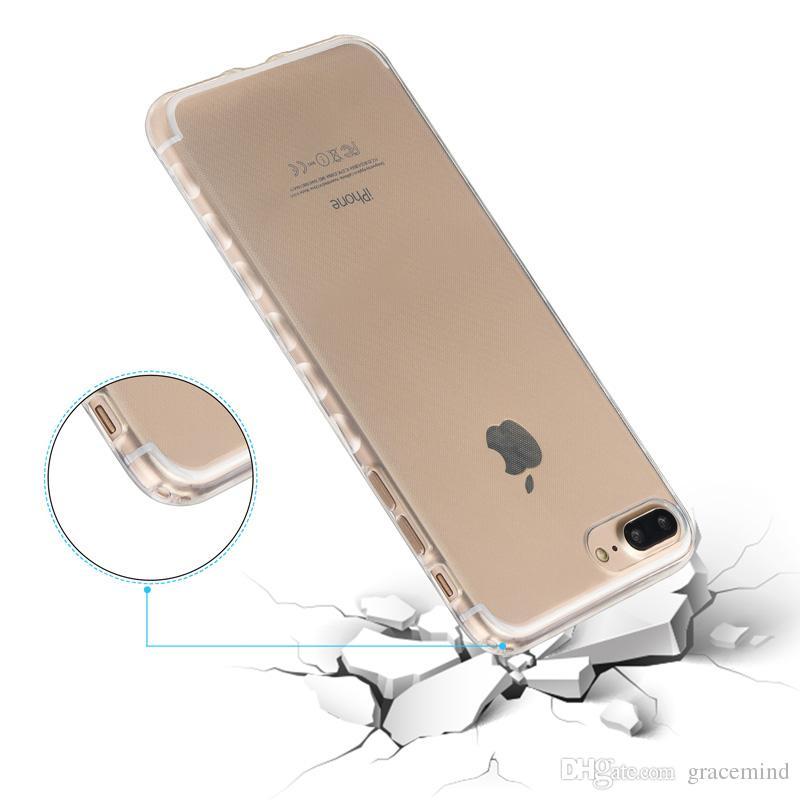 Para iphone 7 plus 7 5 ultra fina qualidade transparente de plástico macio tpu silicone macio case capa