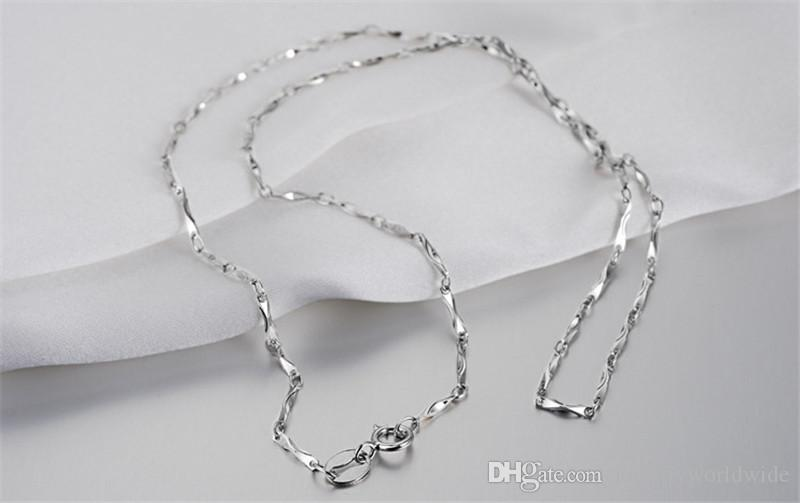 Genuine S925 Sterling Silver Necklace Ingot Chain Platinum Plated Fashion Women Jewelry 16 18 inch ST-N006