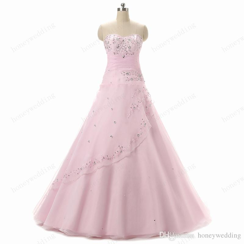 Sweet 16 Girls Light Pink Quinceanera Gowns 2016 Sweetheart Sequin Beaded Organza Cheap Teens Masquerade Prom Ball Gown Dresses Real Photos