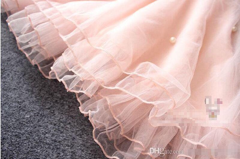 Kızlar Dantel inci Elbise 2015 yeni sevimli prenses Kızlar kolsuz Dantel elbise çocuk giyim