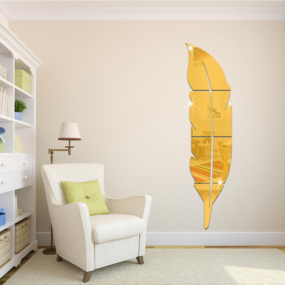 Hot Sale New DIY Modern Plume Feather Acrylic Mirror Wall Stickers Home Room Decor Decal Excellent Quality Dressing Mirror 3D