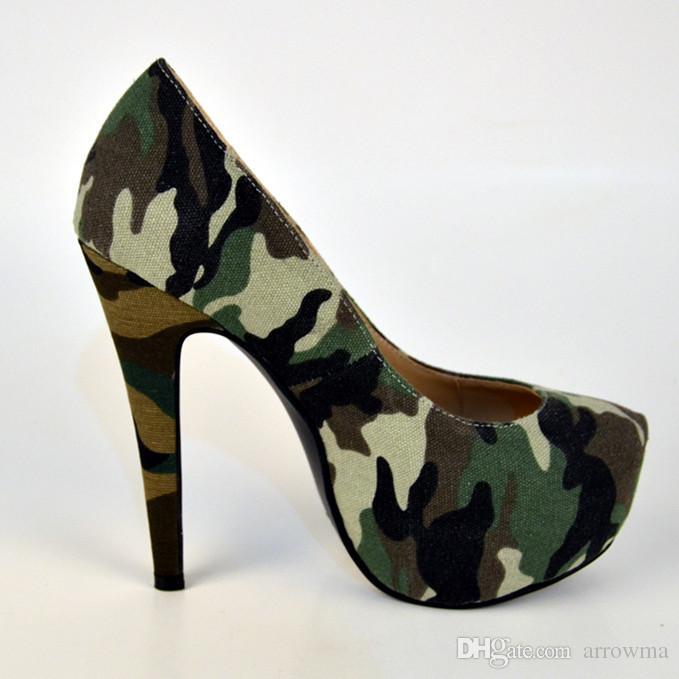 Camouflage Damen Pumps 2016 Günstige Modest Custom Made Damen Sandalen Sexy Hohe Dünne Heels Slip On Fashion Parry Schuhe Plus Größe Schuhe