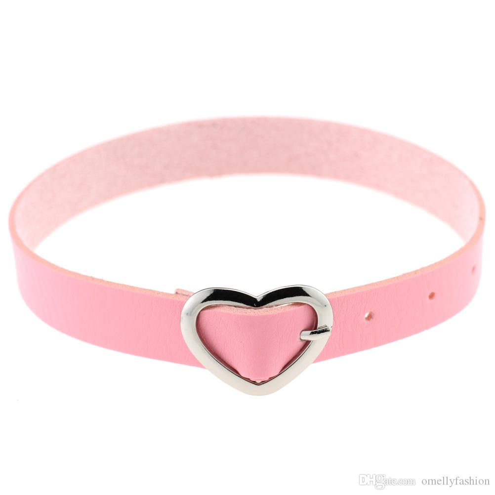 Leather Collar Choker Necklace Band Gothic Leather Heart Love Choker Necklace Sailor Punk Jewelry Cosplay Chokers Jewelry Women