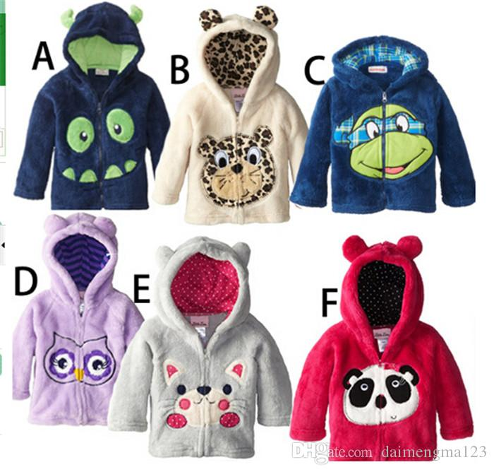 6 designs baby coral fleece embroidery hoody outerwear children's Jackets