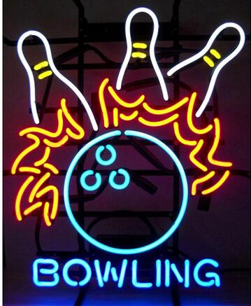 "Bowling Pins Flames Neon Sign Sport Game Room Display Light Lamp Custom Handcrafted Real Glass Neon LED Signs 24""X20"""