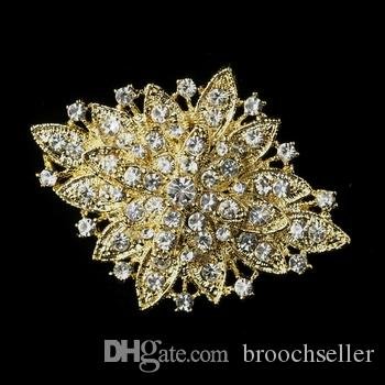Grande spilla da sposa in argento con strass scintillanti in argento