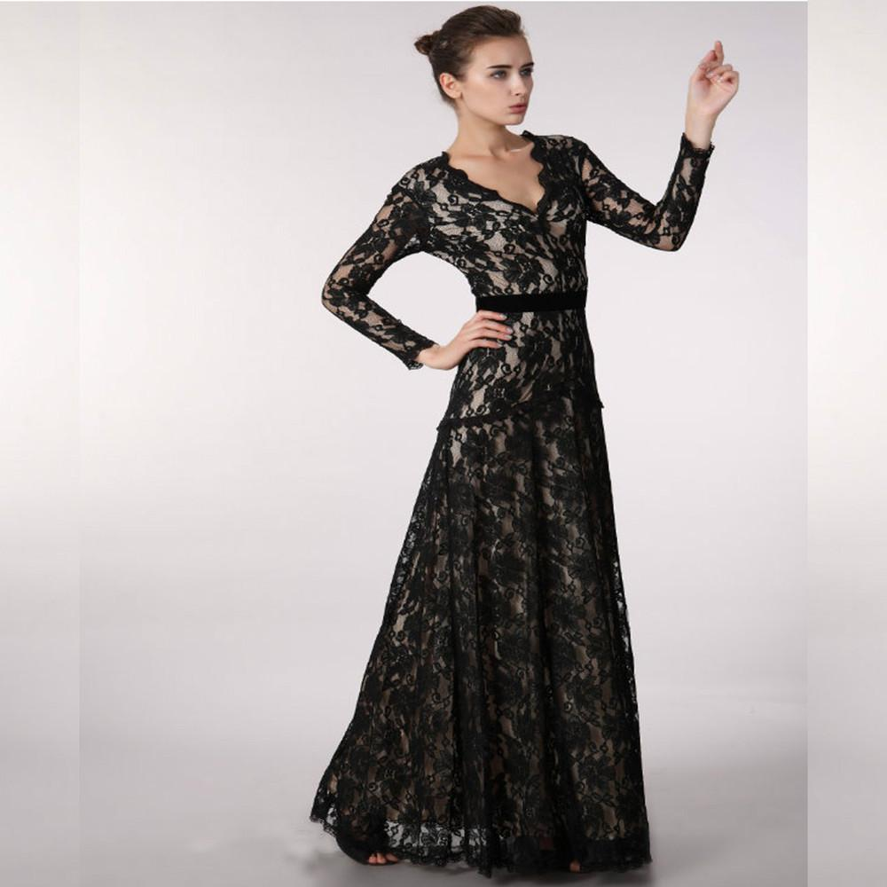 Evening Dress 2015 New Custommade Black Plus Size Lace Long Sleeve ...