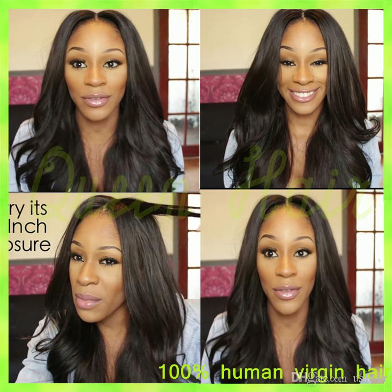 2015 New Brazilian Full Lace Human Hair Wigs With Side Bangs Full Lace Front Wig Natural Straight Wigs For Black Women