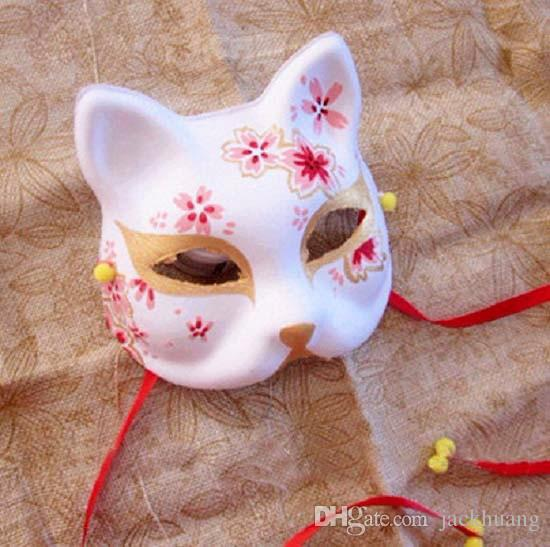 Upper Half Face Japanese Hand-Painted Fox Masks Kitsune Cosplay Masquerade Black Whie Color for Party Halloween Carnival