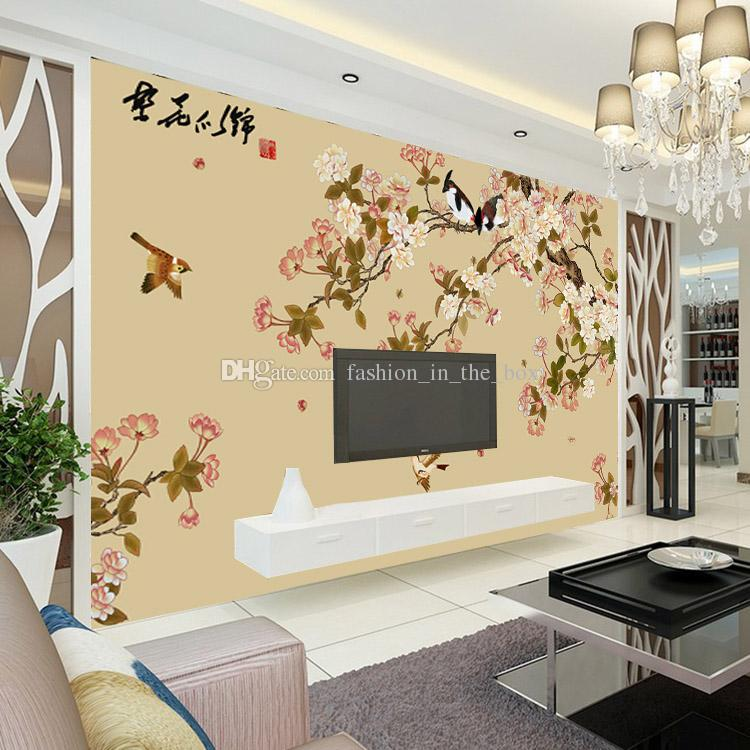 Elegant bird and flower wallpaper custom 3d wall mural for 3d wallpaper for living room india