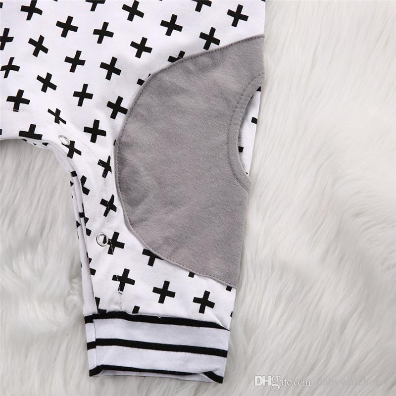 귀여운 아기 옷 봄 여름 가을 유아 여자 소년 Rompers 후드 짧은 / 긴 소매 스트라이프 Romper 크로스 Jumpsuit Playsuit 의상