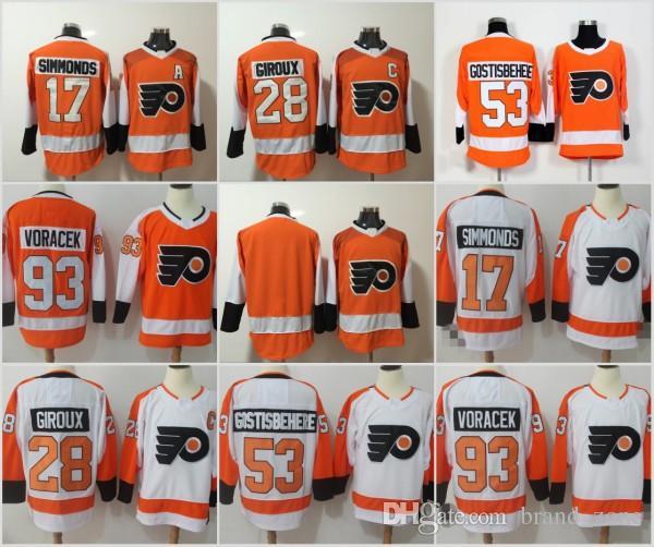 2018 2018 New Philadelphia Flyers 93 Jakub Voracek 28 Claude Giroux Jersey  Men S 17 Wayne Simmonds 53 Shayne Gostisbehere Orange White Jerseys From . 213777b04