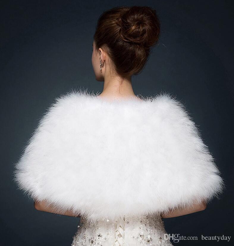 호화로운 타조 깃털 신부 목도리 모피는 결혼 어깨 구리 코트 신부 겨울 결혼식 파티 볼레로 재킷 망토 화이트 카키 100 * 30cm