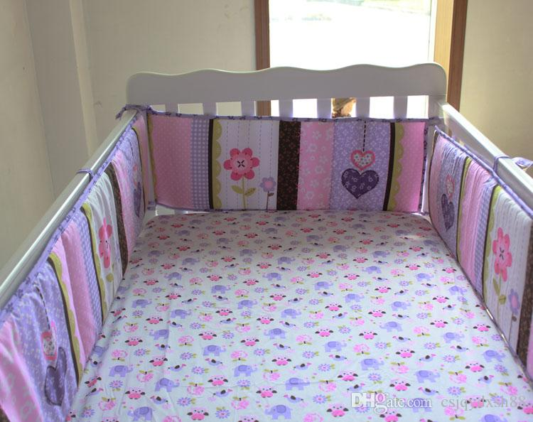 Baby bedding set Purple 3D Embroidery elephant owl Baby crib bedding set 100% cotton include Baby quilt Bumper bed Skirt etc