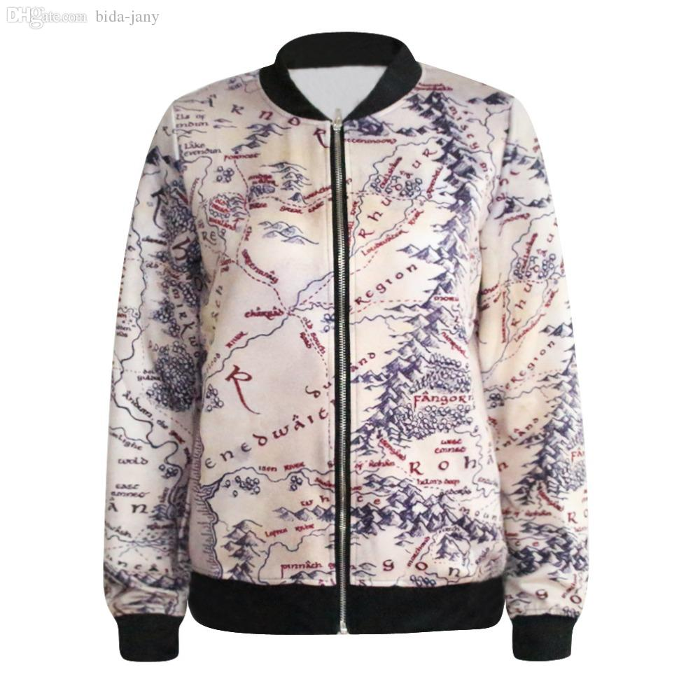 Wholesale-Fashion Lord of The Rings Jacket Middle Earth Map Punk ...