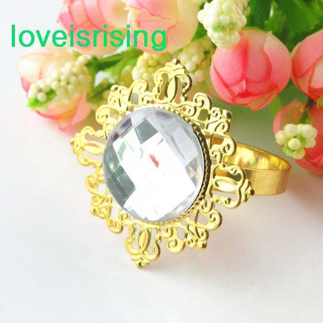Prix le plus bas - plaqué or vert clair Vintage Style serviette anneaux de mariage titulaire de serviette de douche de mariée - Livraison gratuite