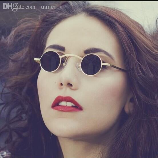4f22235e30907 Compre Atacado Novo Steampunk Óculos De Sol Das Mulheres Dos Homens De  Metal Redondo Óculos De Sol Unisex Designer Retro Pequeno Óculos De Sol  Oculos De Sol ...