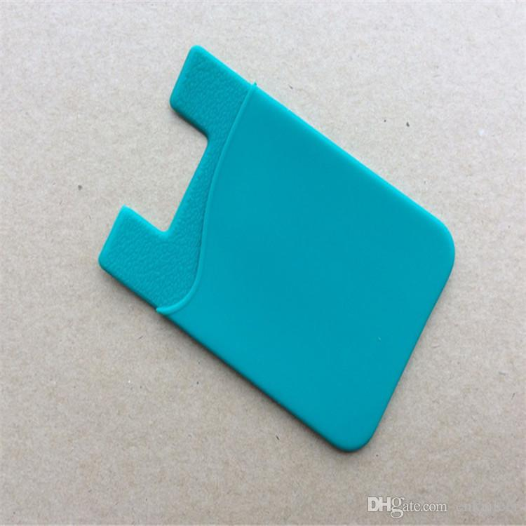 OEM طباعة شعار العملاء سيليكون المحفظة بطاقة الائتمان بطاقة جيب حقيبة حامل فتحة الهاتف الغطاء الخلفي حالة الحقيبة مع لاصق ملصق