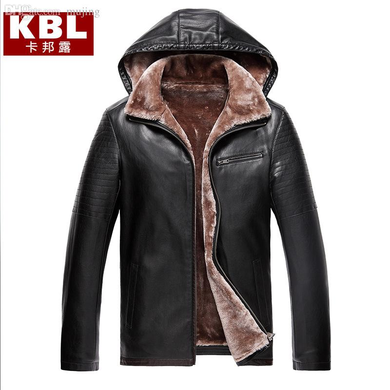 Best Fall Mens Hooded Leather Jacket Black Mink Coat Fleece Lined ...