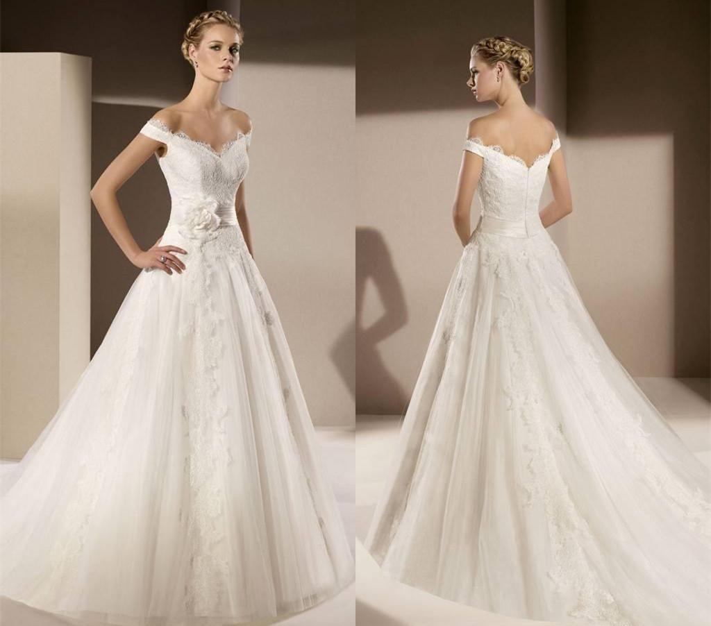 Discount Timeless Lace Off Shoulder Wedding Dresses Appliques Court Train V Neck Designer Top Seller Bridal Gowns Vintage Charming Backless