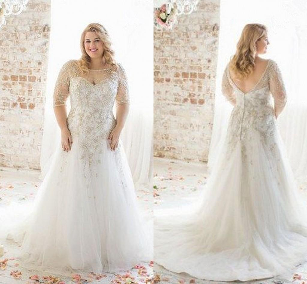 Plus size wedding dresses 2018 boat neck half sleeve for Plus size beaded wedding dresses